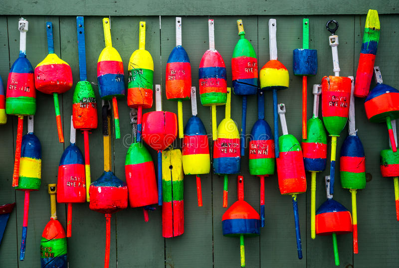 Colorful Lobster Buoys royalty free stock photo