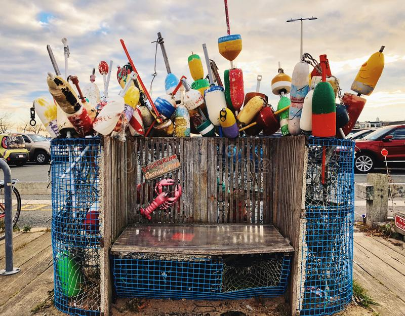 Colorful lobster buoys near The Cape Cod National Seashore. In Provincetown Massachusetts United States royalty free stock photo