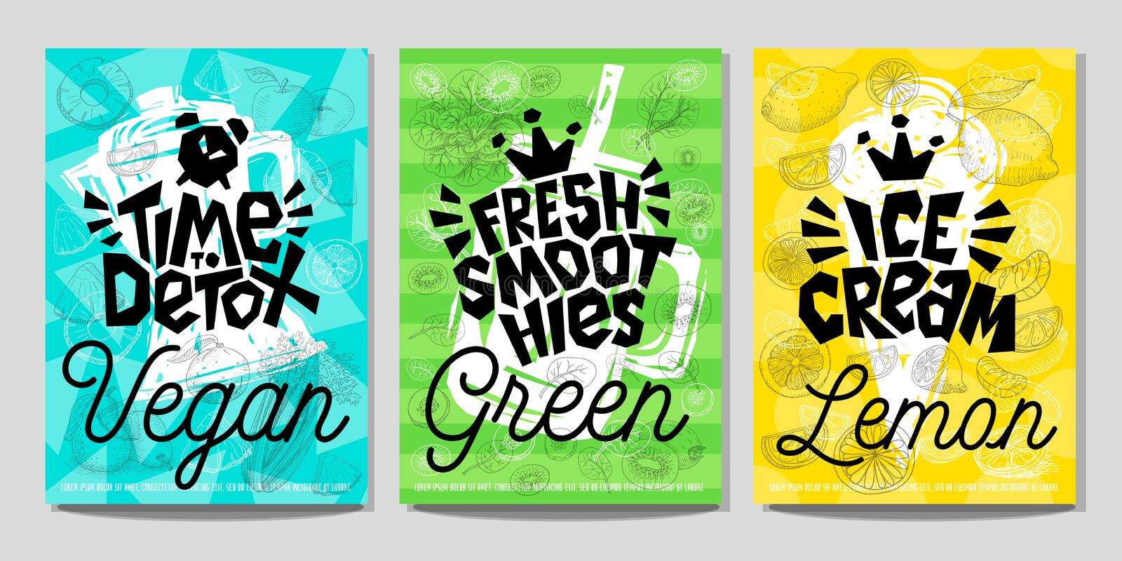 Colorful Label poster stickers food fruits vegetable chalk sketch style, juice smoothies royalty free illustration