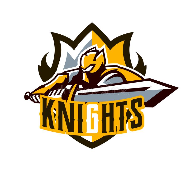 A colorful logo, a sticker, an emblem, a knight is attacking with a sword. Gold armor of the knight, paladin, swordsman stock photography