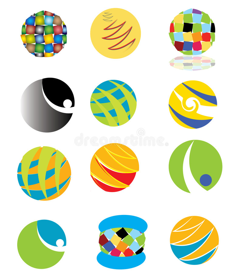 Colorful logos. Illustrated collection of Colorful logos isolated on white vector illustration
