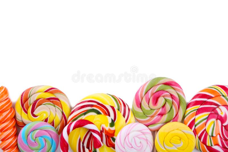 Colorful lollipops isolated on white background. Studio shot. Colorful lollipops isolated on a white background. Studio shot royalty free stock image