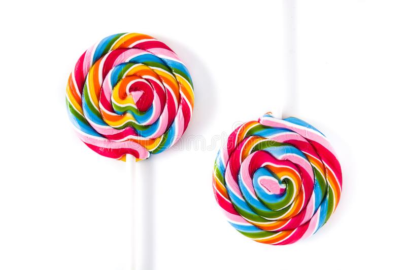 Colorful lollipops isolated on white background stock photo