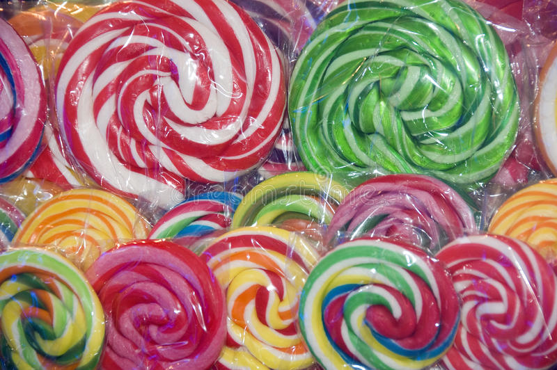 Colorful Lollipops In Plastic Royalty Free Stock Images