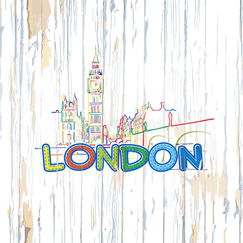 Colorful London drawing on wooden background stock illustration
