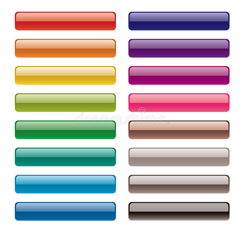 Colorful long buttons. Vector colorful long buttons for web design royalty free illustration