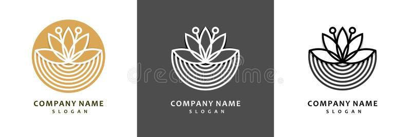 Colorful lotus logo set. Royal lotus flower for health luxury industry logo idea design illustration vector illustration