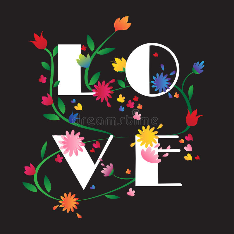 Colorful LOVE flower illustration black background stock photo