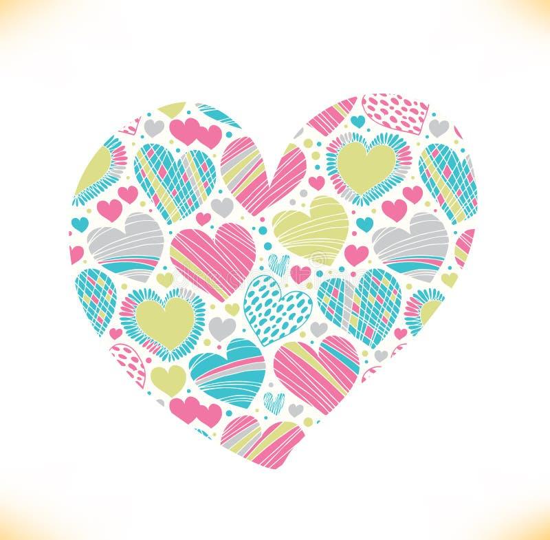 Colorful love ornamental pattern on heart Beautiful love symbol royalty free illustration