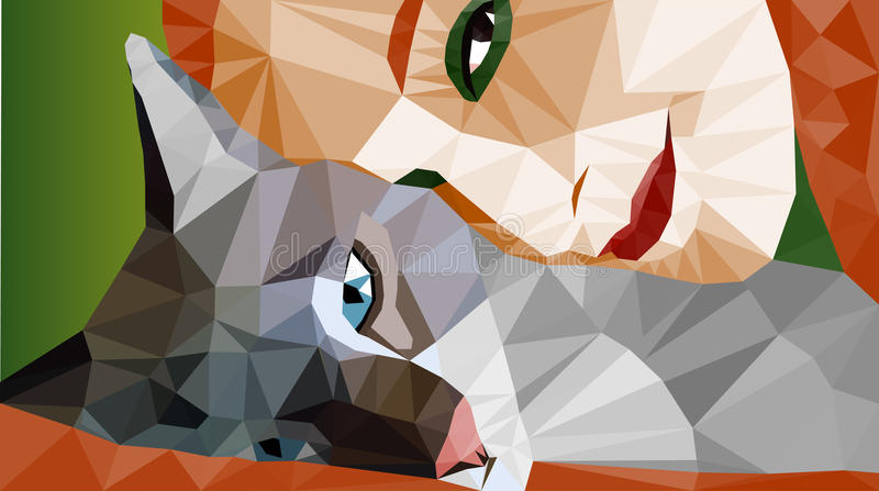 Colorful low-poly portrait of laying cat and face of a woman. Stock vector. royalty free illustration