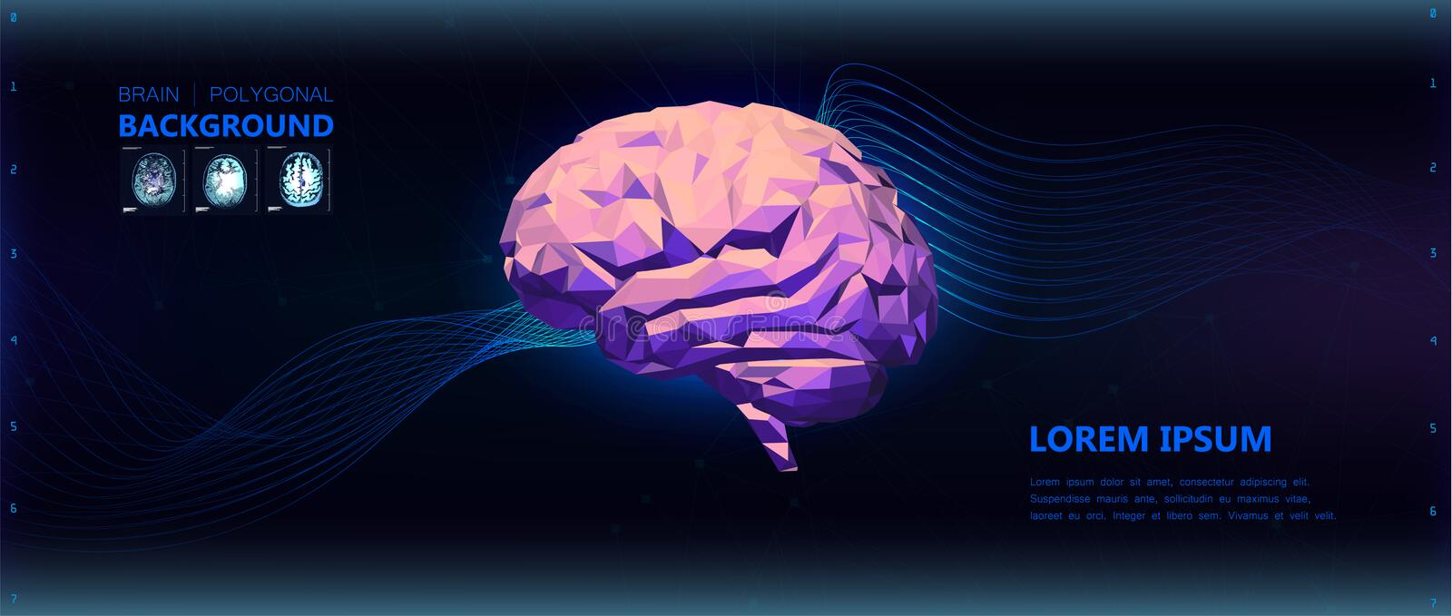 Colorful low poly side view brain illustration. Background. Colorful low poly side view brain illustration with futuristic background with lines and images of stock illustration