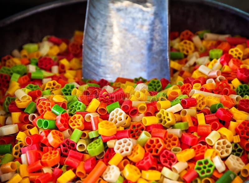 Colorful macaroni. Colorful dry macaroni at the market in Jodhpur, Rajasthan, India stock image