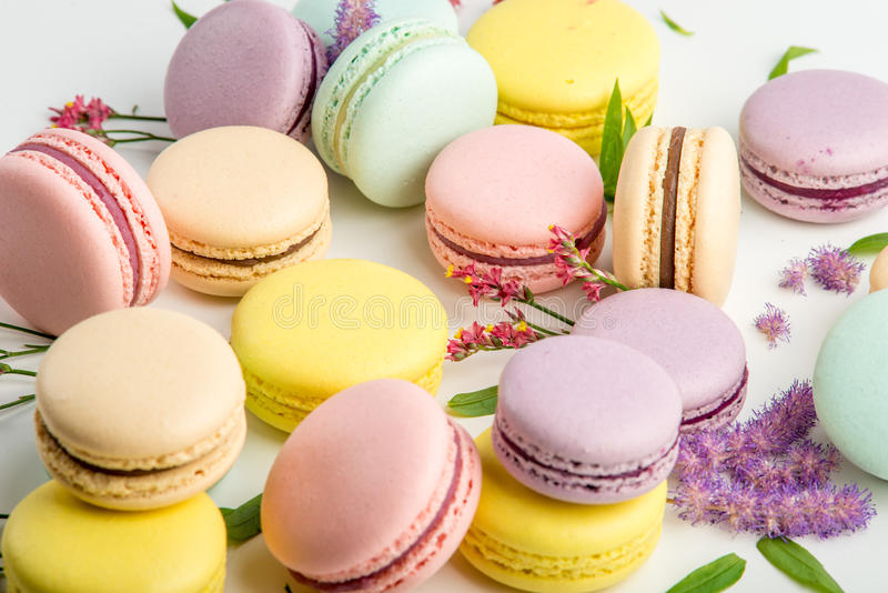 Colorful macarons with leaves and red flowers on a white background. French delicate dessert royalty free stock photos