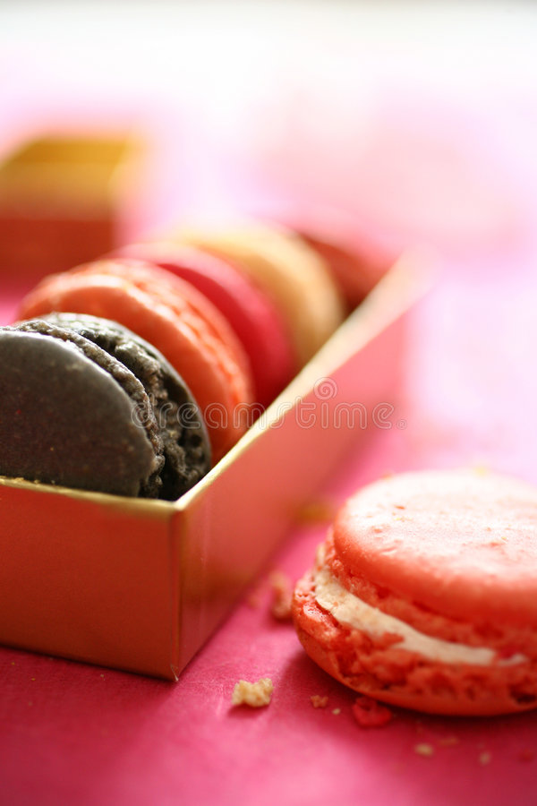 Download Colorful macaroons in box stock image. Image of crumbs - 7540537