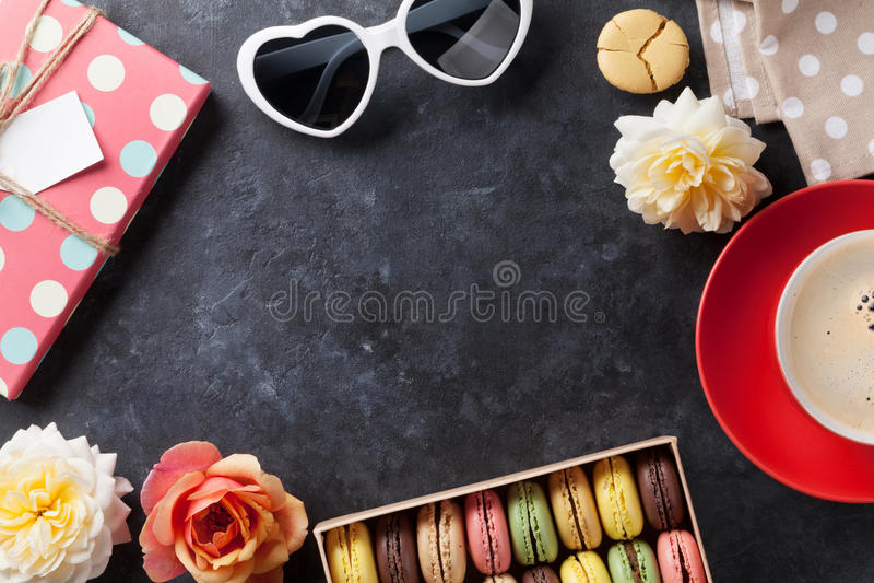 Colorful macaroons, coffee. Sweet macarons royalty free stock image