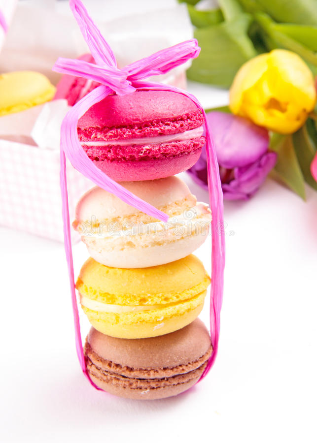 Download Colorful Macaroons Tied With Ribbon Stock Photo - Image: 22638532