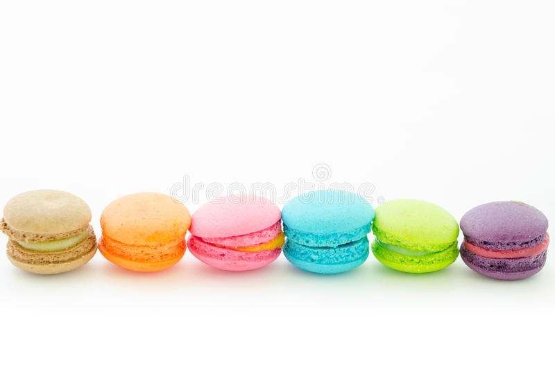 Colorful macaroons on white. stock image
