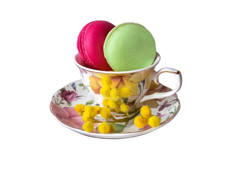Colorful macaroons on a white background. Colorful macaroons isolated on a white background stock image