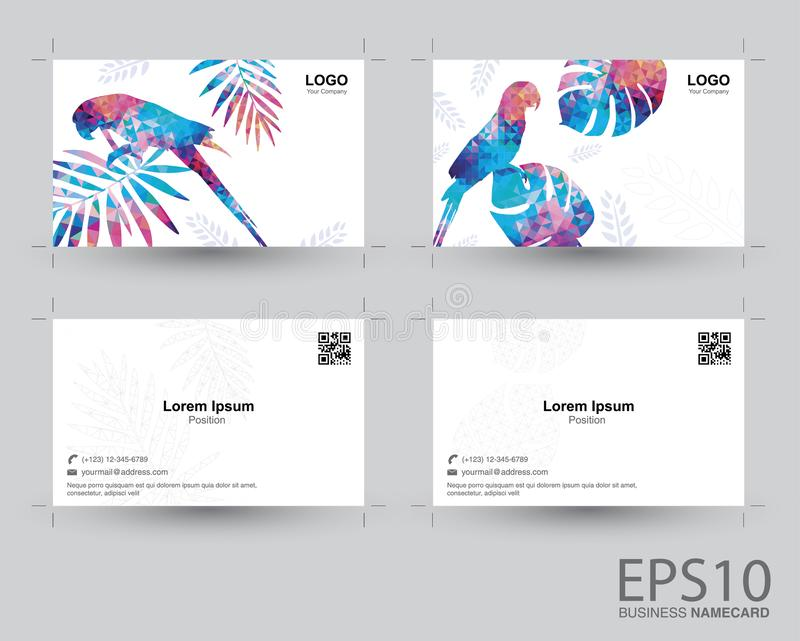 Colorful Macaw bird and tropical leaf namecard pattern background vector illustration