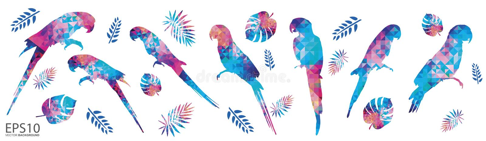 Colorful Macaw bird and tropical leaf pattern background royalty free illustration