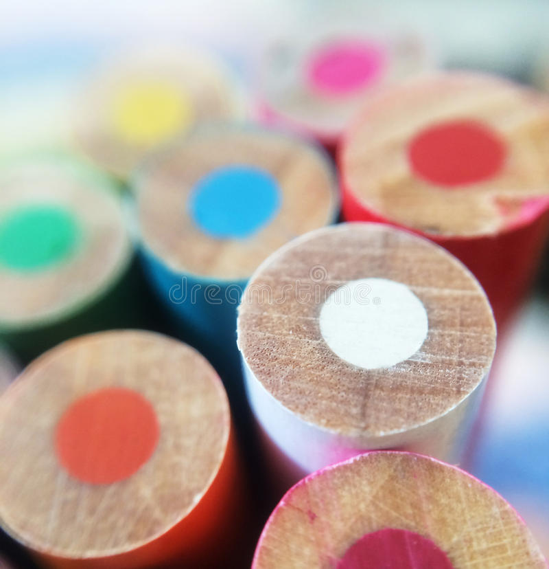 Colorful macro pencils royalty free stock photos