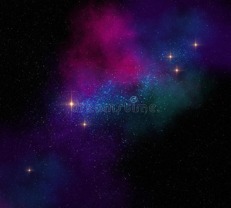 Colorful magical starfield on dark space illustration vector illustration