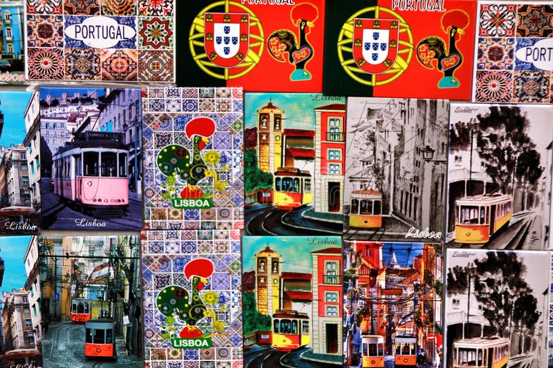 Colorful magnet souvenirs of Lisbon city. Colorful magnet tram and tiles souvenirs of Lisbon city. Word Lisbon written portugal historic tour tourism red royalty free stock images