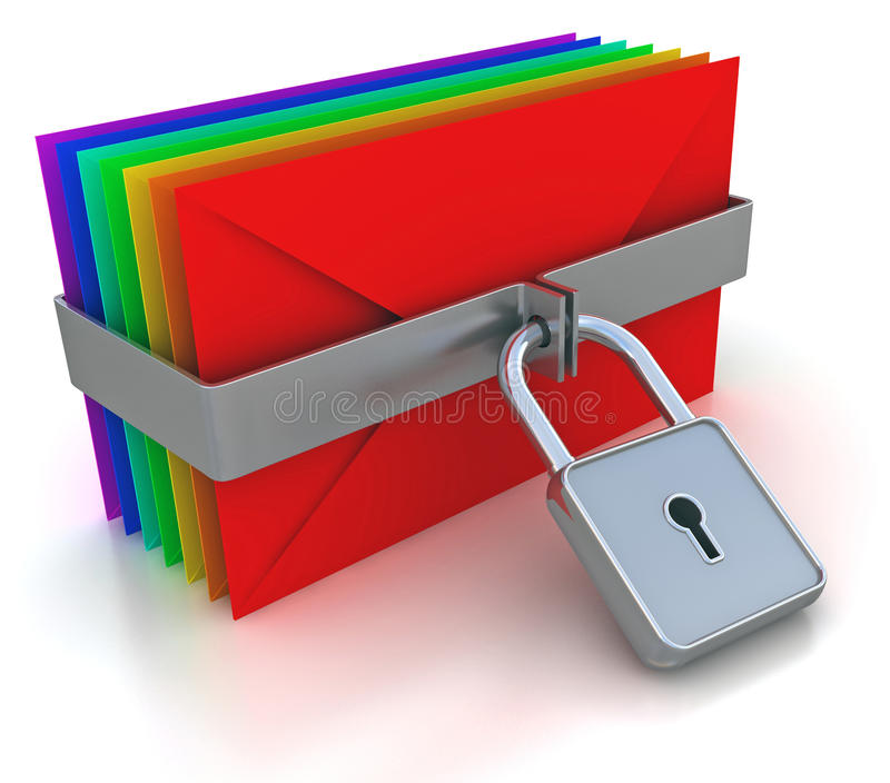 Download Colorful mail and lock stock illustration. Image of lock - 25566343