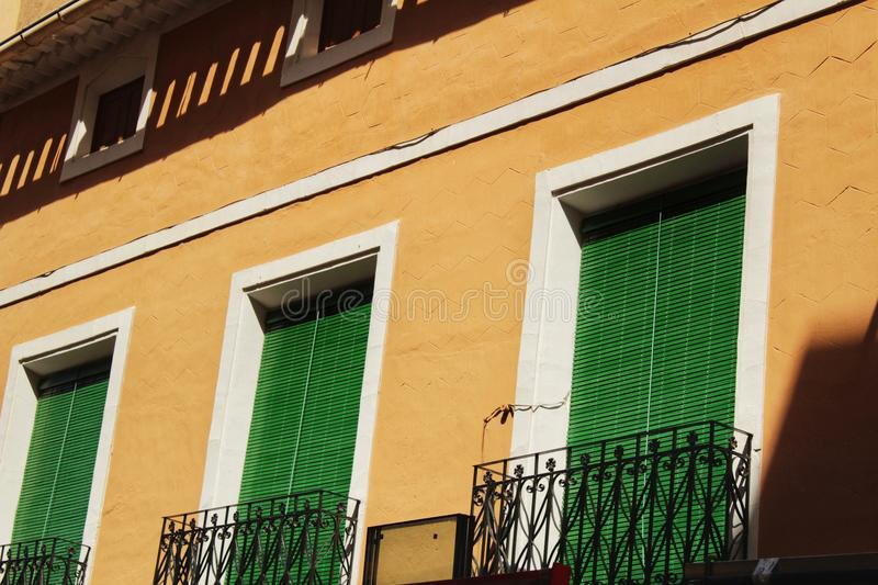 Colorful and majestic old house facade in Caravaca de la Cruz, Murcia, Spain. In a sunny day of Spring royalty free stock photos