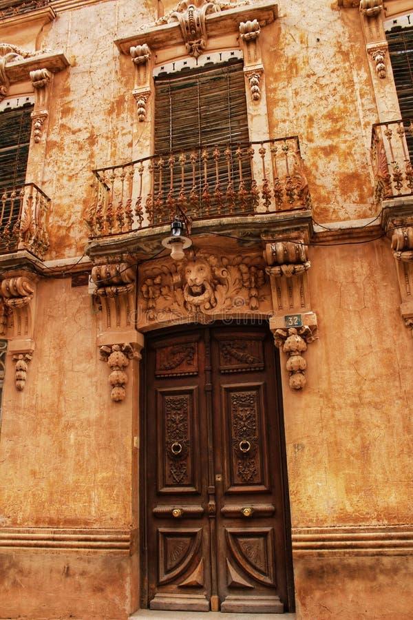 Colorful and majestic old house facade in Caravaca de la Cruz, Murcia, Spain. In a sunny day of Spring stock image