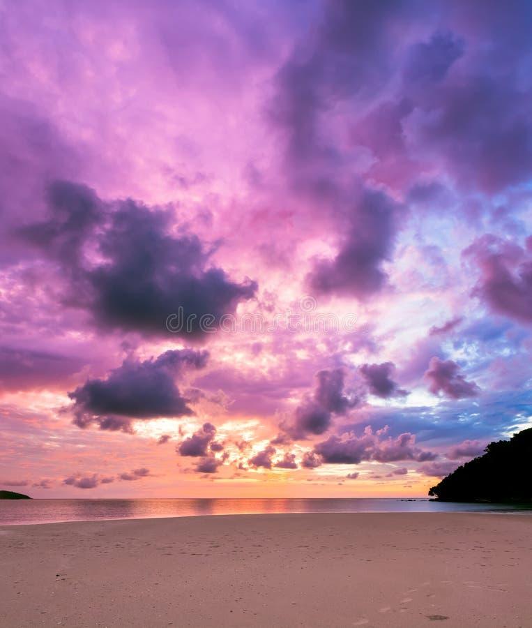 Colorful majestic sunset at sand beach borneo stock photos