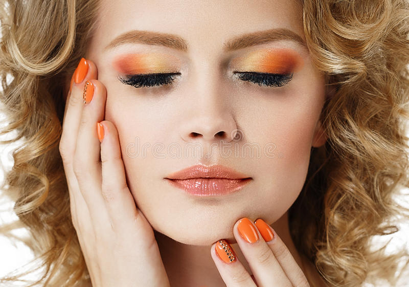 Colorful make up shadows and nails woman beauty portrait isolated on white stock images
