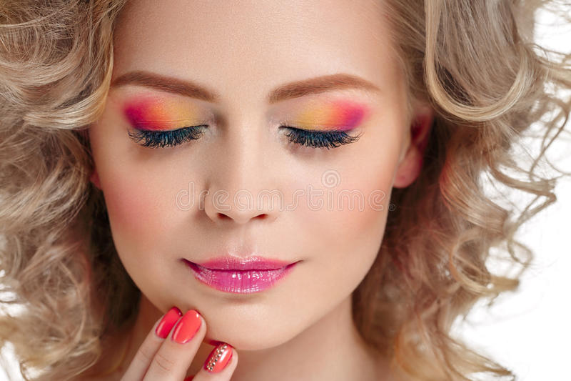 Colorful make up shadows and nails woman beauty portrait isolated on white royalty free stock photos
