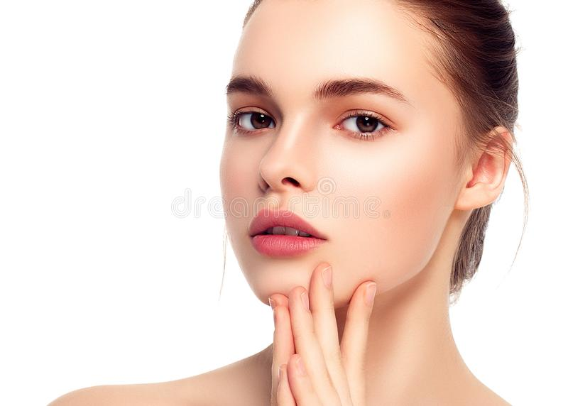 Colorful make-up woman face, beautiful brunette summer makeup wi royalty free stock photos