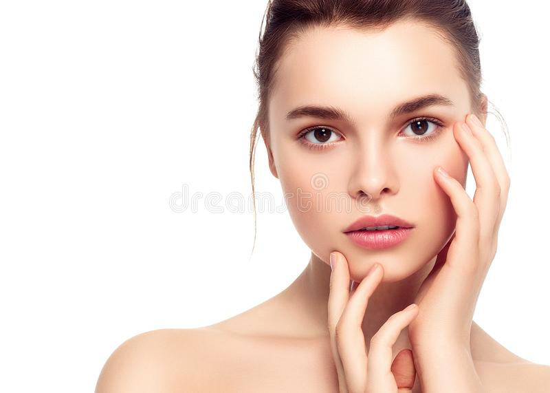 Colorful make-up woman face, beautiful brunette summer makeup wi royalty free stock photo