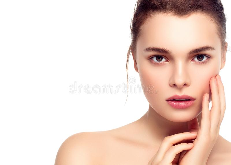 Colorful make-up woman face, beautiful brunette summer makeup wi royalty free stock images