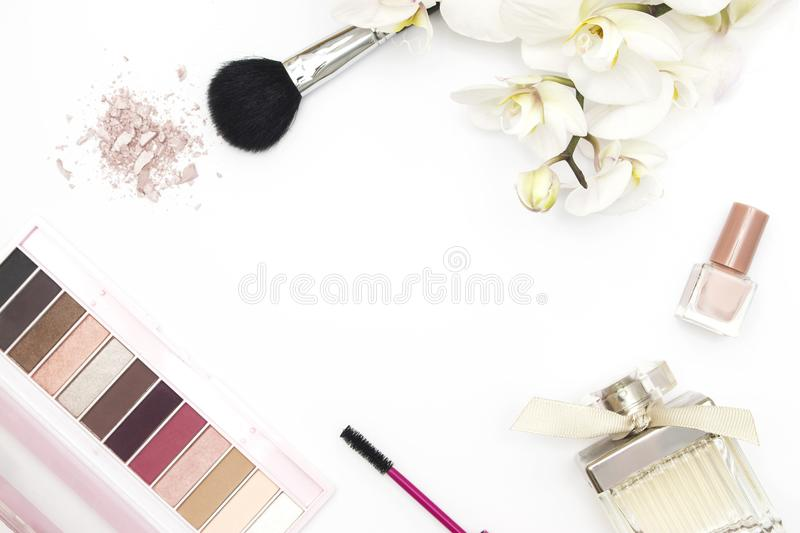 Colorful makeup layout white background royalty free stock images