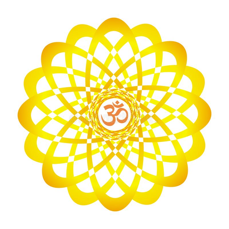 Colorful mandala with Aum / Om / Ohm sign. orange, yellow colors. Spiritual symbol. Vector graphics stock illustration