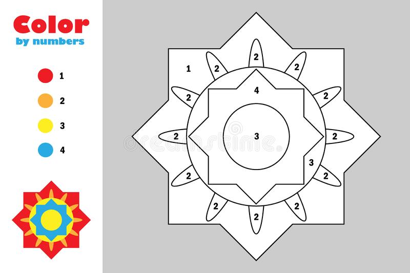 Colorful mandala in cartoon style, color by number, education paper game for the development of children, coloring page, kids. Preschool activity, printable stock illustration