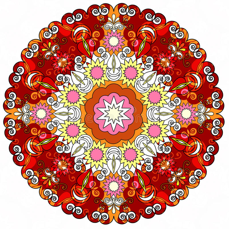 Colorful mandala . Ethnic mandala with decorative elements. stock illustration
