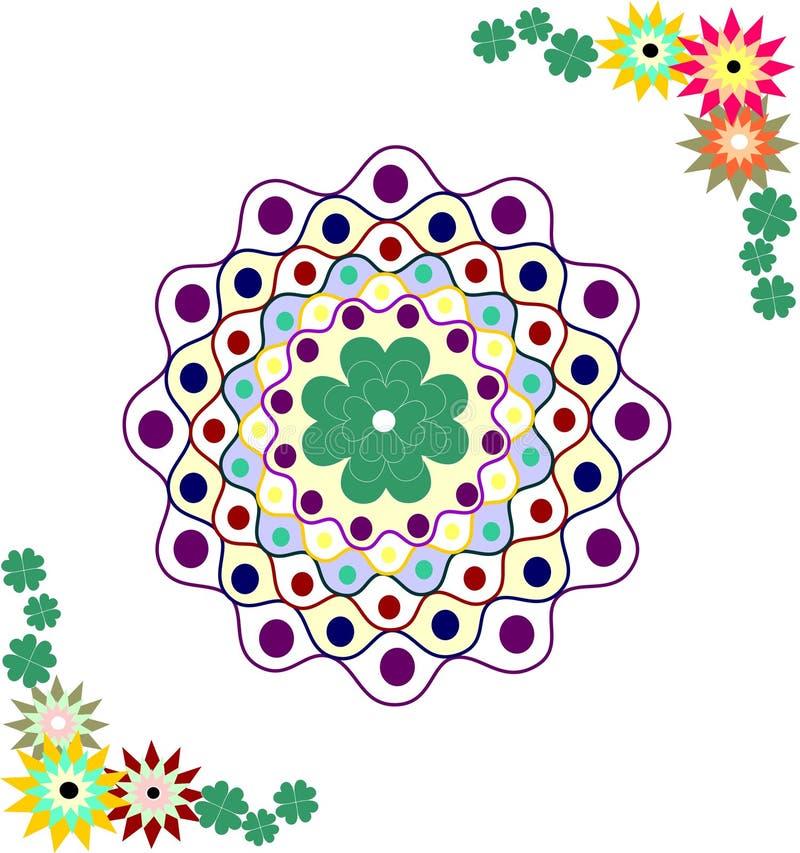 Colorful mandala with flower theme royalty free illustration