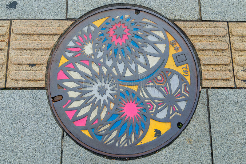 Colorful manhole cover in Matsumoto City royalty free stock images