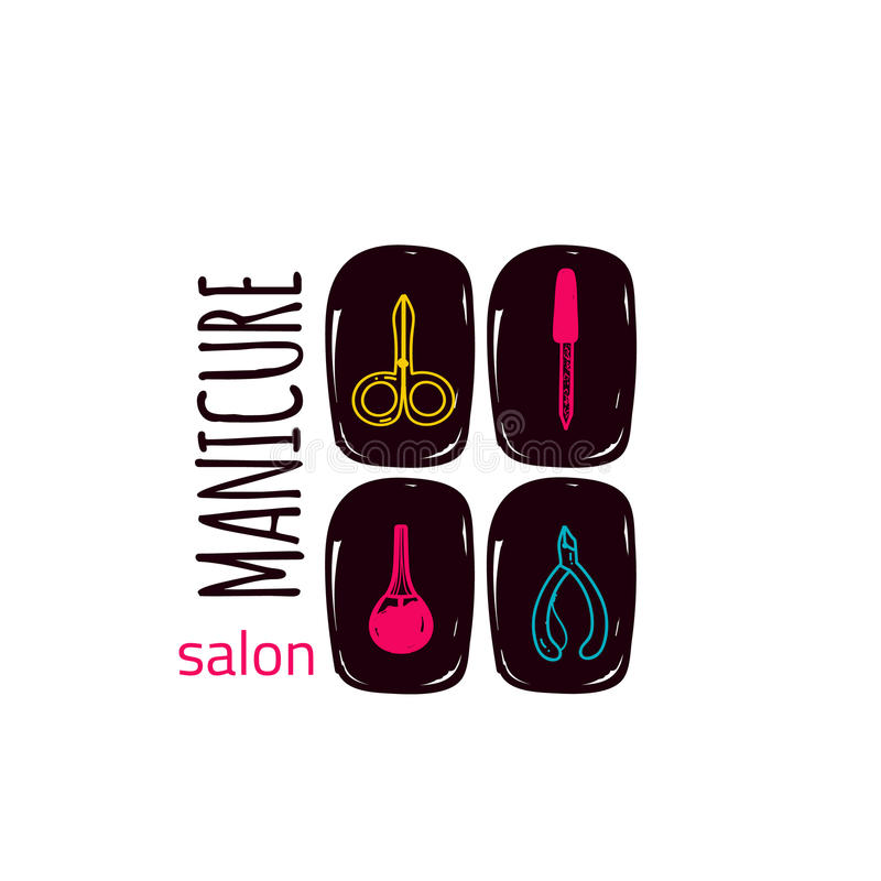 Colorful manicure studio logo in linear style on nails, makeup, for beauty salon, stylist vector branding design. vector illustration