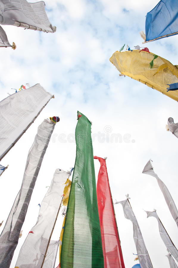 Colorful Mantra Flag Field In Darjeeling Royalty Free Stock Photos