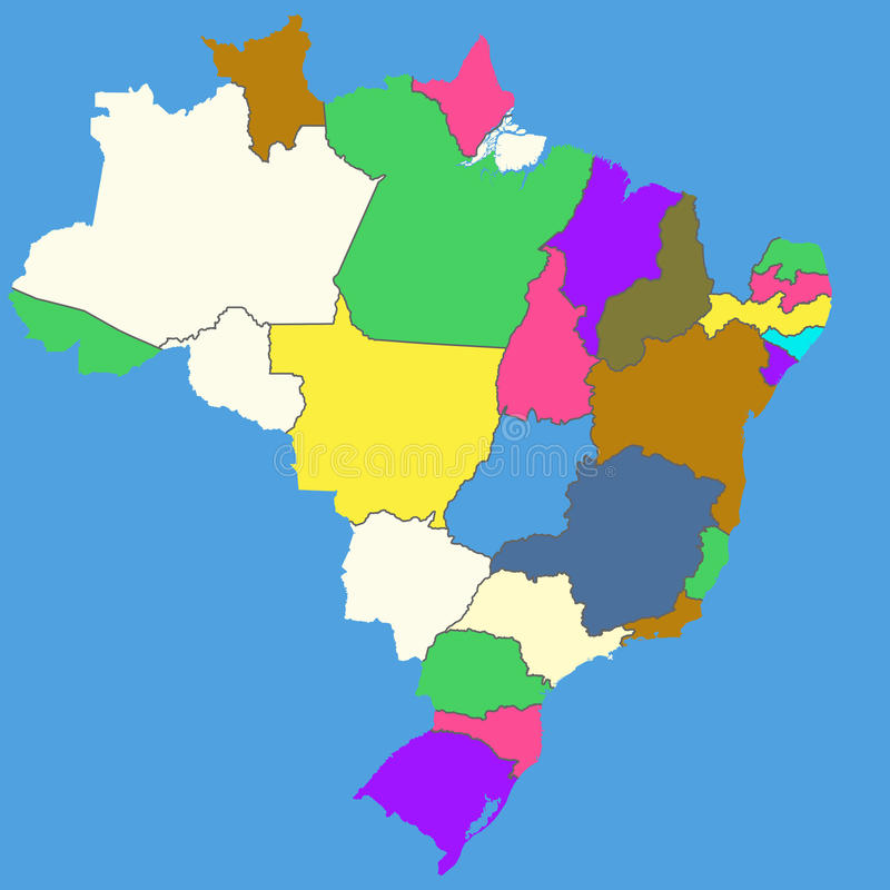 Colorful map of Brazil stock illustration