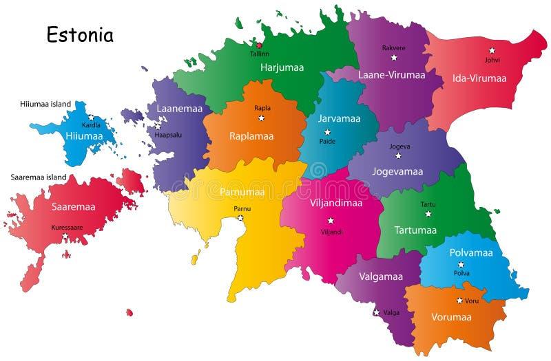 Colorful map of Estonia