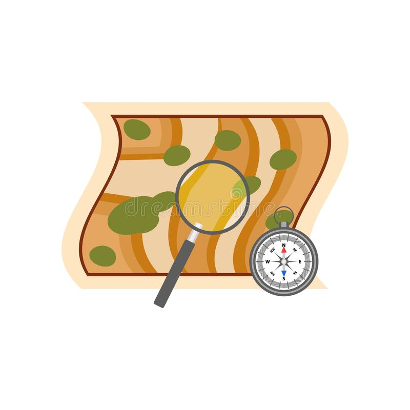 Map with magnifying glass showing place for archaeological excavation and compass. Archeology symbols. Flat vector vector illustration