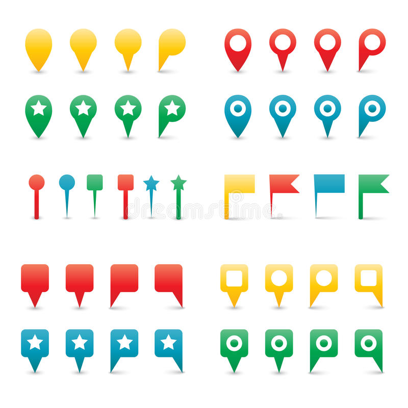 Download Colorful Map Pins. Royalty Free Stock Photography - Image: 32181257