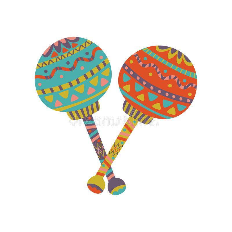 Colorful maracas with Mexican ornament cartoon vector Illustration. On a white background stock illustration
