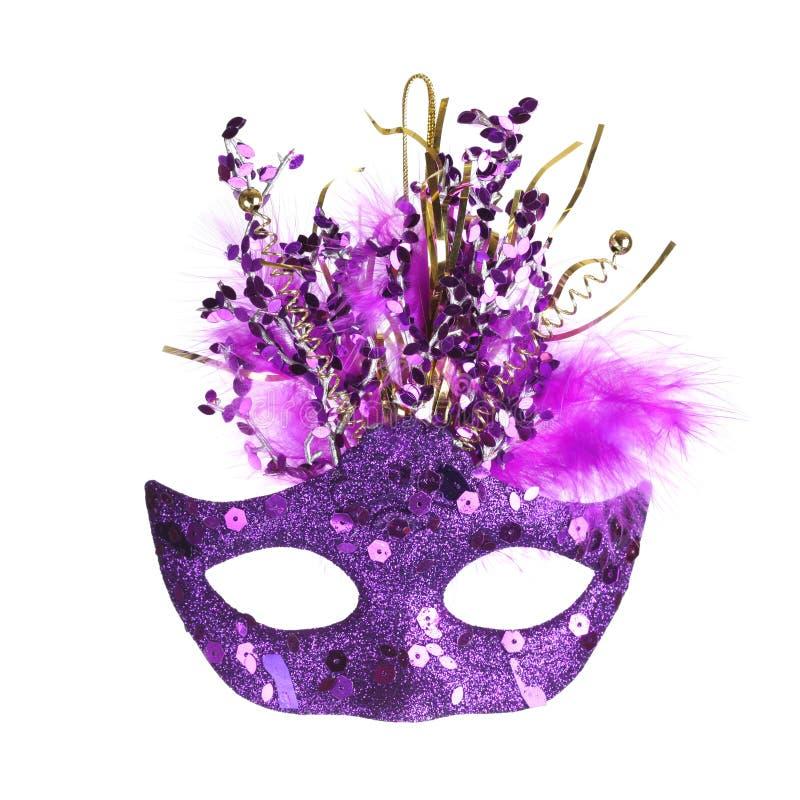 Colorful Mardi Gras mask isolated on white. Colorful purple Mardi Gras mask isolated on white stock photo